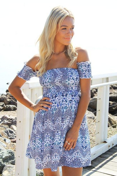 5fe904a0a32a dress off the shoulder dress flowy dress blue and white