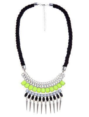 Green neon stone cord necklace