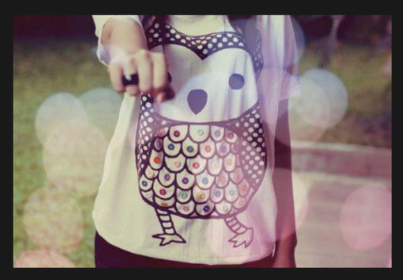 owl shirt white black buttons cute