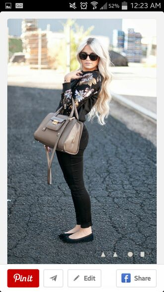 beige ballet flats hipster blouse blacktop bag purses blonde hair accessories