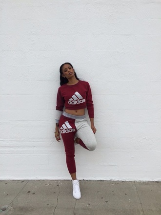 jumpsuit sweatshirt adidas sweater cropped sweater joggers pants bottoms top sweatpants sweats adidas adidas sweatpants colorblock cropped girl tumblr tumblr outfit tumblr clothes tumblr girl grey burgundy sweatsuit set sweater adidas tracksuit addidas pants red crop tops jeans addias outfit addias sweater