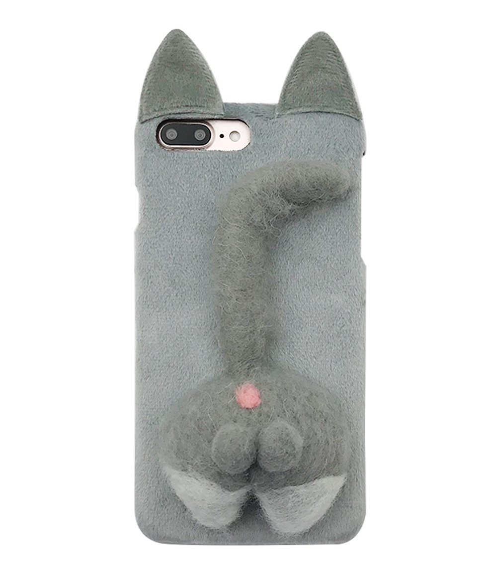 brand new 3e0af 5dd0c Amazon.com: iPhone 8 Plus Soft Fur Case, Cartoon Funny Cute Puppy Plush  Animal Cat Butt Corgi Tail Brown Ear Hair Creative Design Apple 7 Plus  Phone ...