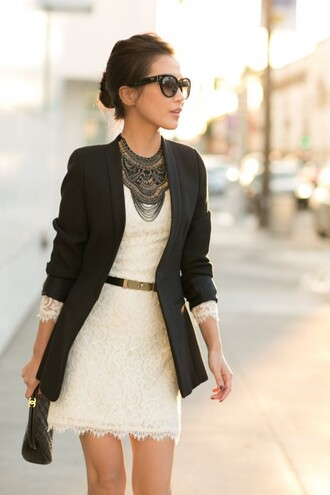 wendy's lookbook jacket dress bag shoes sunglasses belt jewels christmas dress white dress lace dress beautiful black blazer black necklace black neckless long sleeve lace dress long sleeves long sleeve dress blazer waist belt statement necklace black sunglasses black bag clutch blogger
