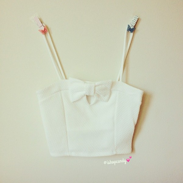 top crop tops bows cute ishopcandy fashion white