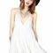 White chiffon deep v neck short slip dress dr0130174
