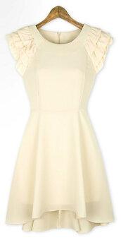 beige,beige dress,dress,mini dress,ruffle