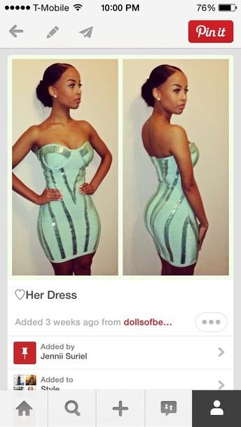 dress mint green strapless dress