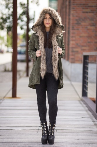 jacket winter jacket fur jacket hooded jacket parka army green jacket black leggings leggings sweater grey sweater boots lace up boots black boots