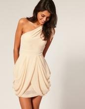 nude dress,champagne pink dress,one shoulder dress,dress,tan dress