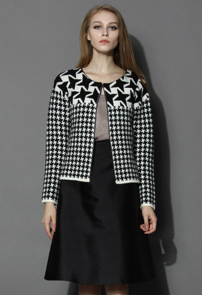 Petite Houndstooth Knitted Coat - Retro, Indie and Unique Fashion