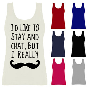 Womens i'd like to chat but i really moustache funny vest tank top new uk 8