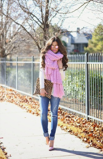 scarf pretty in pink light pink scarfs knitted scarf oversized clutch leopard print pale pink heels pumps fluffy white sweater pink sunglasses sunglasses winter outfits gold jewelry light washed denim distressed denim ripped jeans skinny jeans preppy casual fashion vibe fall outfits