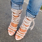heels,nude shoes,white shoes,shoes,strappy sandals,monika chiang,rope,strappy heels,lace up,white high heels,beautiful,pumps,rope lace up heels,summer,jeans,high heels,high heel sandals,hair accessory,crystal rope sandal heels,white,high fashiion,style,earphones,strappy,rope heel,nude heels