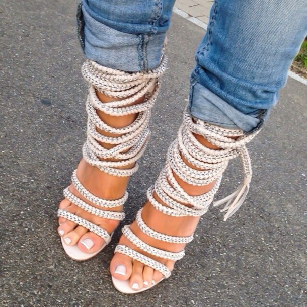 97c1cfd41cd44 heels nude shoes white shoes shoes strappy sandals monika chiang rope  strappy heels lace up white