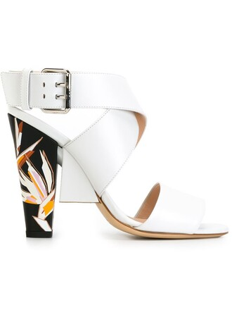 heel chunky heel sandals white shoes