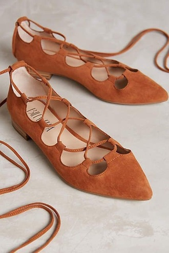 shoes cute strappy flats orange