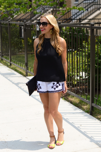 shorts embroidered shorts summer shorts white shorts sandals flat sandals nude sandals top black top high neck sunglasses black sunglasses envelope clutch summer outfits