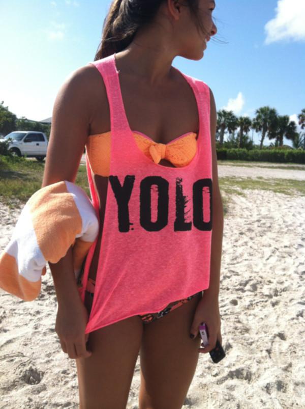 shirt yolo tank top neon top pink neon pink crop tops
