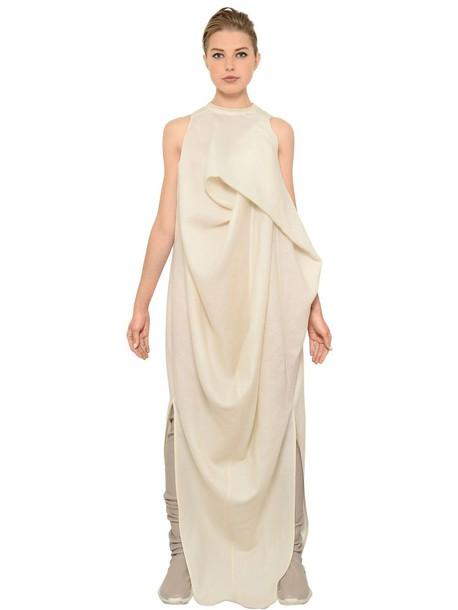 RICK OWENS Silk & Wool Gauze Dress in ecru