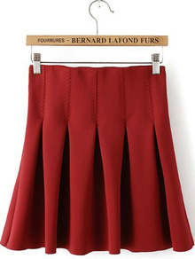 2014 Flare Pleated Midi Skirt Online Sale