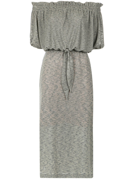Lilly Sarti dress off the shoulder women spandex cotton grey