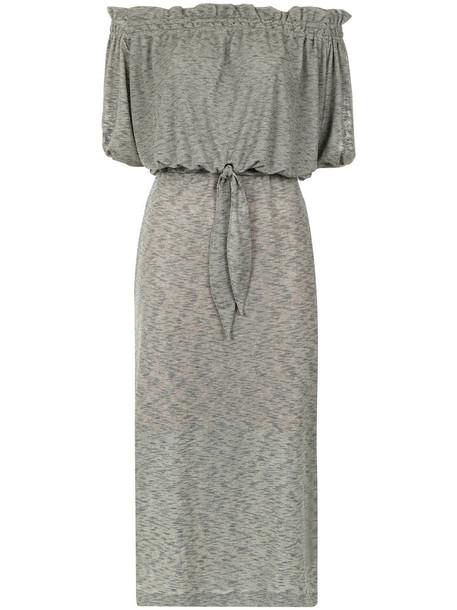 dress off the shoulder women spandex cotton grey