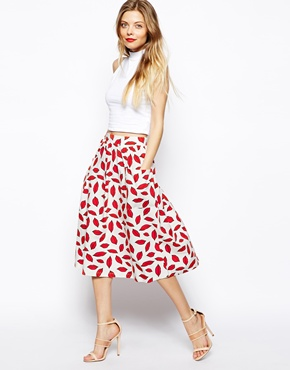 ASOS | ASOS Midi Skirt In Lips Print With Pockets at ASOS