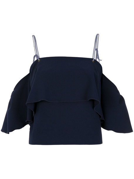 Nk top cropped ruffle women spandex blue