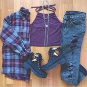 shoes,purple,crop tops,jeans,boots,shirt,underwear,top,blouse,halter top,cut out ankle boots,ripped jeans,blue jeans