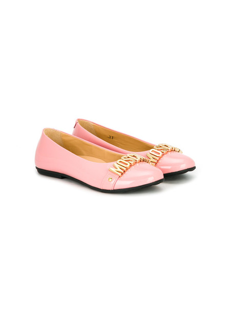 Moschino Kids embellished shoes leather purple pink
