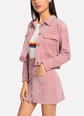 jacket,girly,girl,girly wishlist,pink,corduroy,skirt,two-piece,matching set