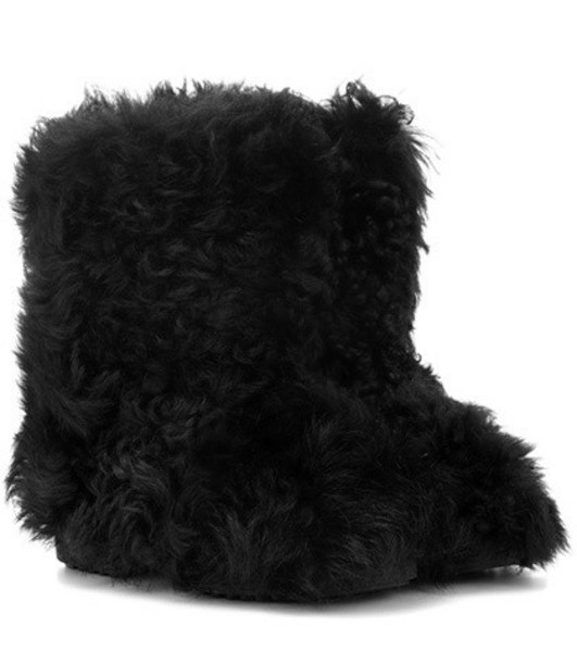 Saint Laurent Shearling ankle boots in black
