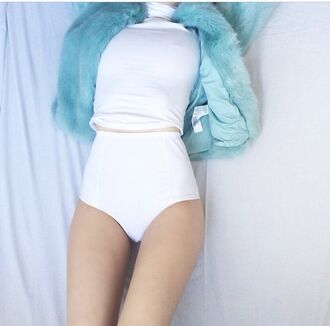 jacket blue fur faux fur white sexy grunge alternative indie pale cool joanna kuchta top soft grunge pastel grunge coat fur coat pastel blue pastel pants crop top coat blue white. pants