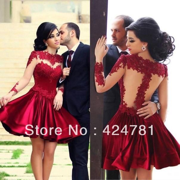 shipping 2014 Elegant Newest Tulle Evening Dresses Dark Red ...