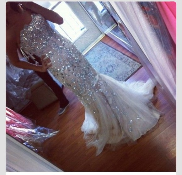 dress beauty silver sequin dress long prom dresses prom dress pretty