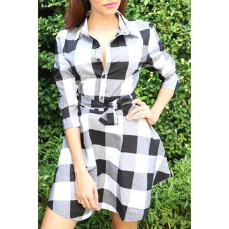 dress plaid trendy black and white summer casual fashion style trendsgal.com