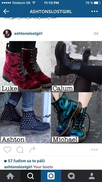 shoes drmartens oil spill grunge boots green blue