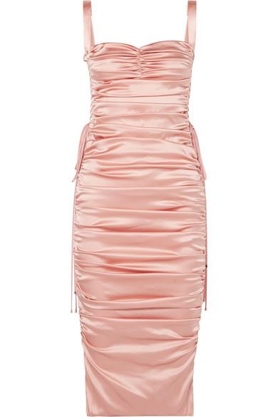 Dolce & Gabbana - Lace-up ruched stretch-silk satin midi dress