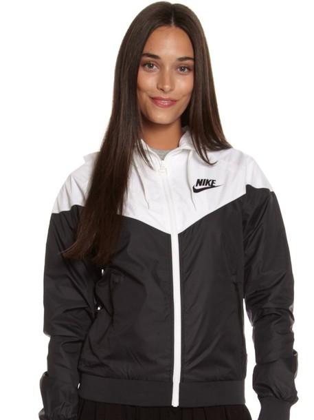 jacket nike black and white windbreaker sweater white   black a89dc2dd4