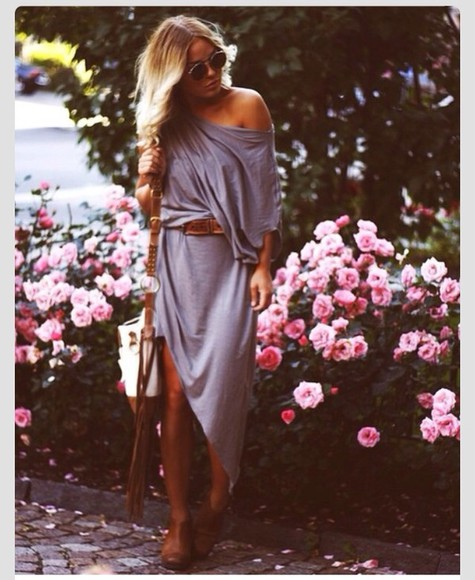 dress grey dress long sleeve dress draping dress, leg slit