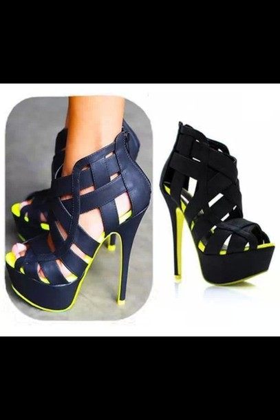 shoes bright colour black high heels black high heels heels high fluo yellow straps neon and black heels lime pumps open toes platform high heels shorts pop of neon navy leather high heels peep toe pumps strappy black heels awesome! inlove black and neon yellow black pumps black and green girly