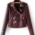 Burgundy Embroidery Oblique Zipper PU Jacket -SheIn(Sheinside)
