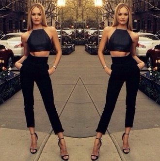 top black leather model crop tops candice swanepoel halter crop top