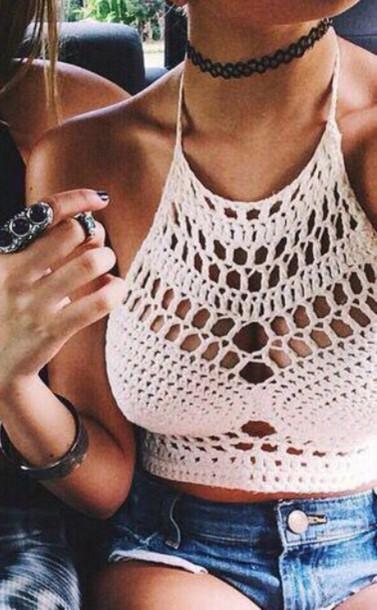 top shirt white crochet crop tops underwear crochet bra bra