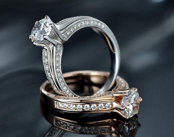 1CT round cut sona diamond silver ring