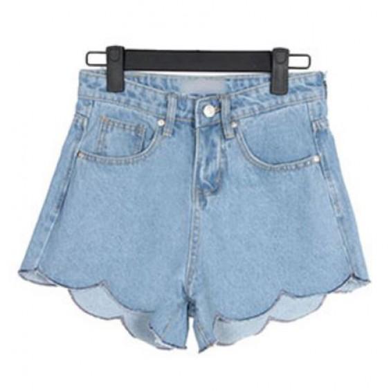 BOOGZEL | Wavy Edge Denim Shorts
