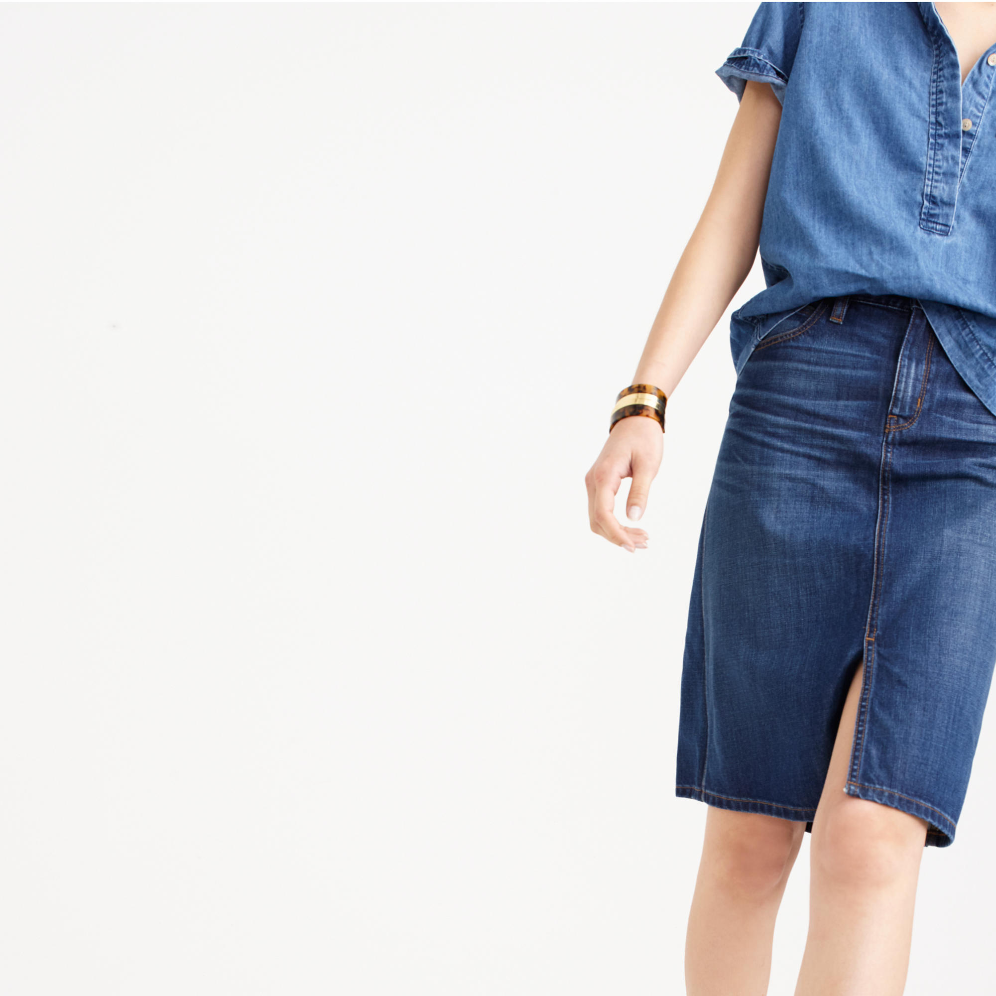 5a9cac2fc0 J Crew Button Front Denim Skirt – DACC