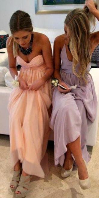 clothes dress coat maxi dress prom dress peach dress lavender dress pastel dress pink prom purple nude pumps light pink pastel light purple long dress
