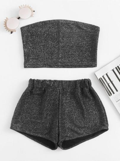 Sparkle Bandeau Top With Shorts