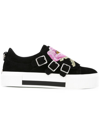 embroidered women sneakers floral leather suede black shoes